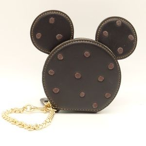 NEW COACH Minnie Mouse Black Leather Coin Purse